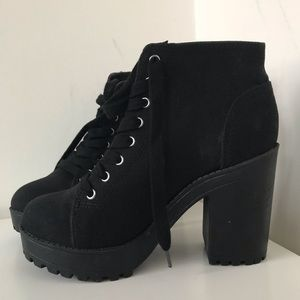 H & M Black Lace Up Heeled Boots - Never Worn